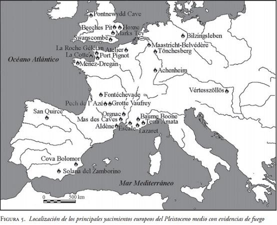 Principales yacimientos arqueológicos del Pleistoceno medio europeo con evidencias de fuego
