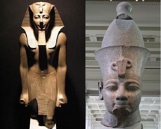Imagen combinada en la que se puede ver a Tutmosis III y Amenhotep III