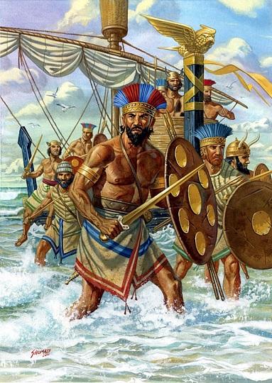 Imagen muy idealizada que muestra cómo serían los pueblos del mar, consecuencia de la crisis del 1200 a.C.