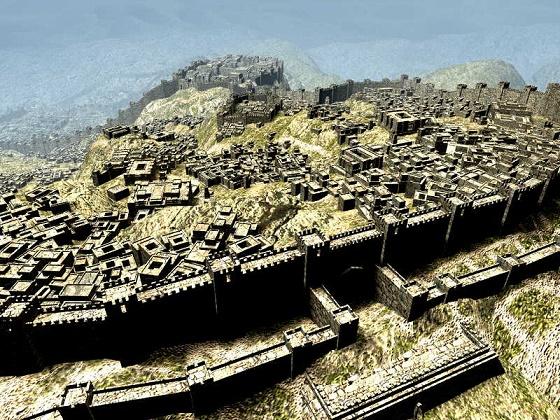 Reconstrucción digital que muestra cómo debió de ser Hattusas, la capital del imperio hitita antes de la crisis del 1200