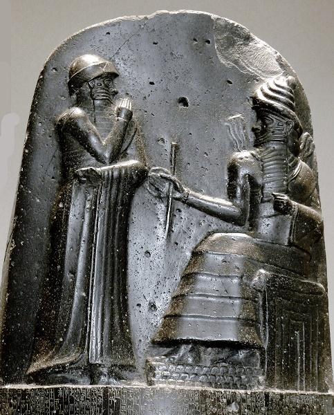 Detalle de la parte superior del Código de Hammurabi