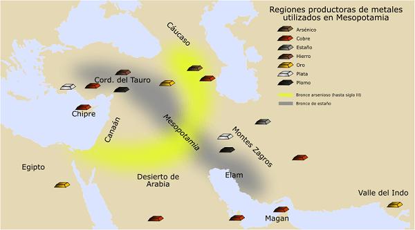 Mapa de las regiones productoras de Metales en Oriente Próximo