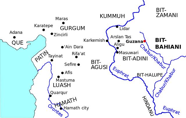 Otro mapa de los reinos y regiones del lenguaje arameo