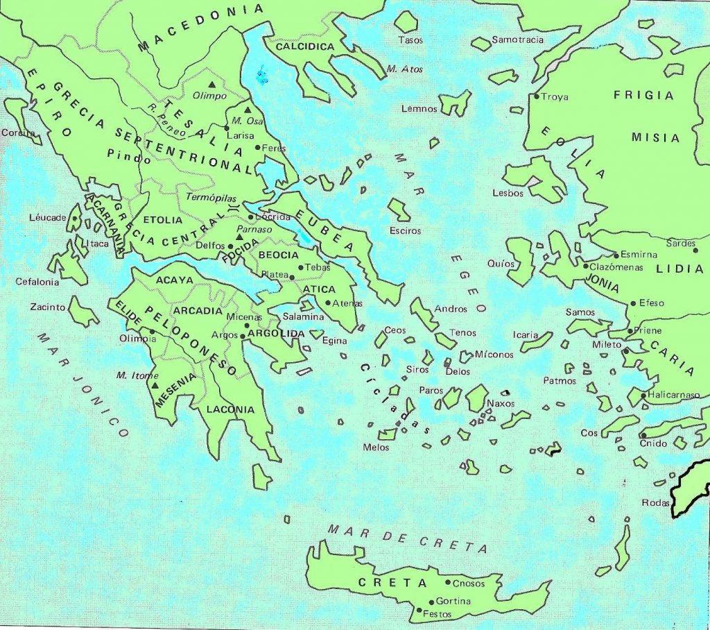 Mapa de la antigua Grecia y sus alrededores, escenario de la edad oscura griega