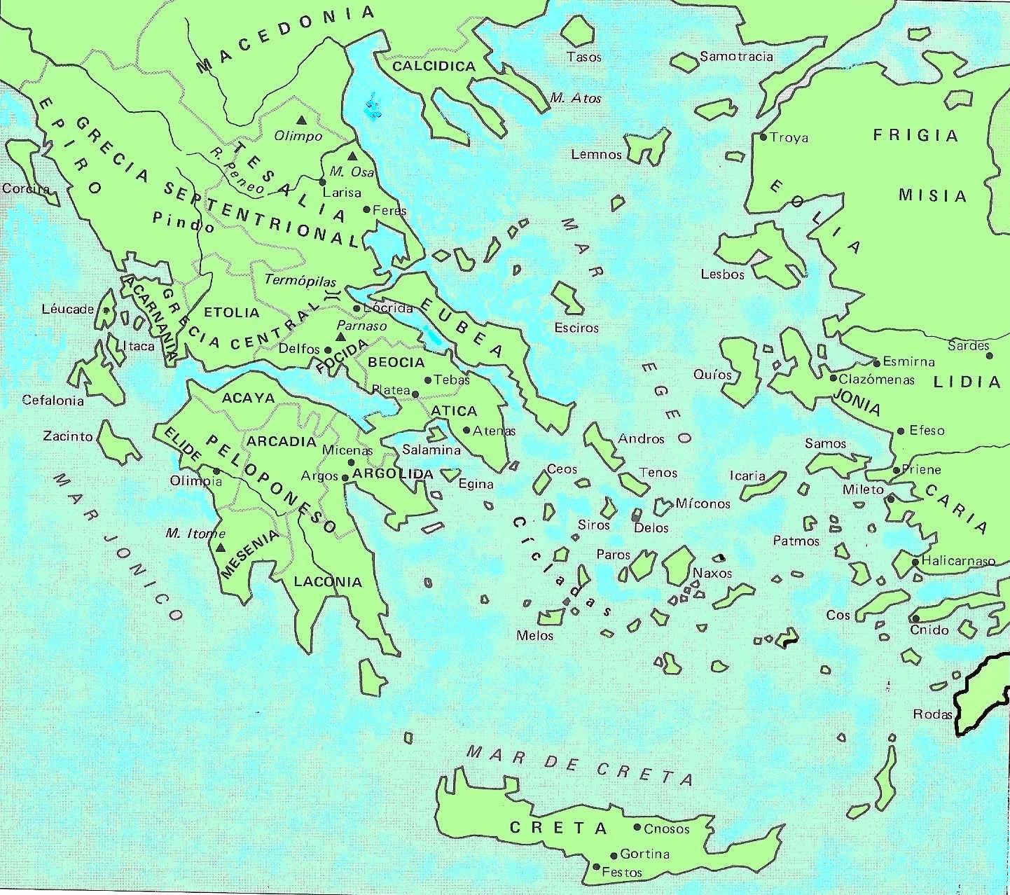 Mapa de la antigua Grecia y sus alrededores que sirve como introducción a la antigua Grecia