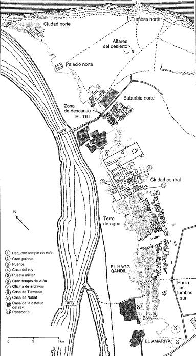 Plano numerado del yacimiento arqueológico principal del amarniense (Shaw, 2014)