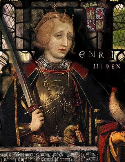 Vidriera en la que se representa al rey Enrique III de Castilla. Durante su reinado fue el pogromo de 1391