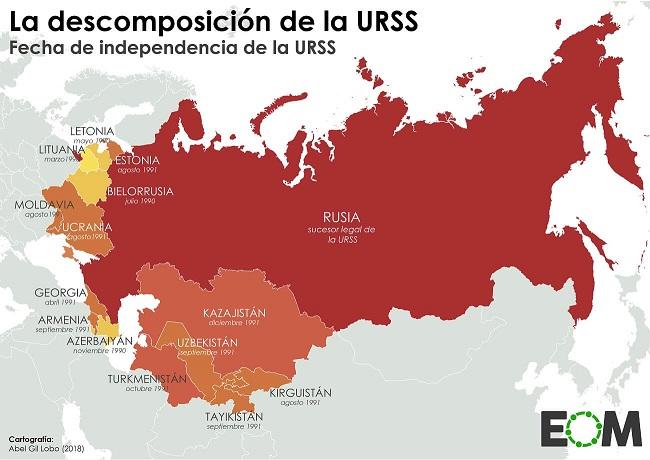 Mapa con las fechas de independencia que marcaron la desintegración de la URSS