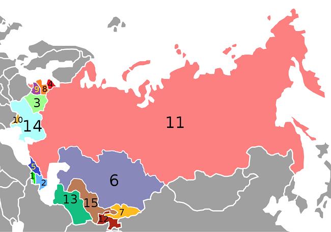 Mapa en el que aparecen todos los miembros que conformaban la URSS