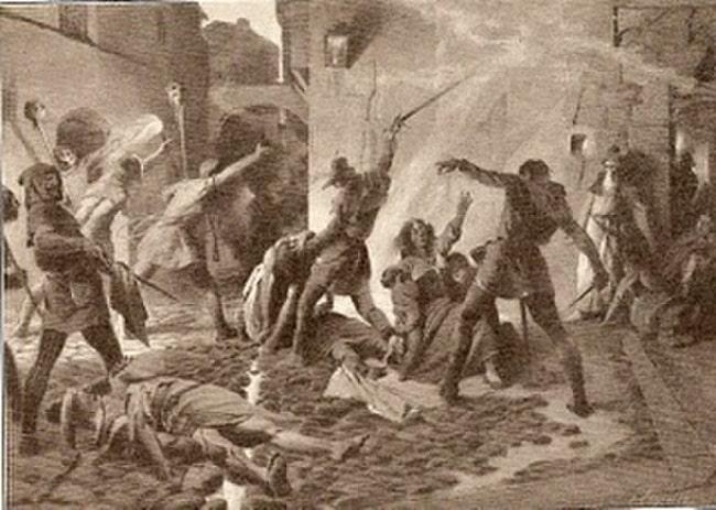 Matanza de judíos en Barcelona en el pogromo de 1391, obra de Josep Segrelles hecha en 1910