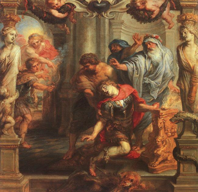 La muerte de Aquiles, cuadro de Rubens, basado en el mito del origen de la antigua Grecia