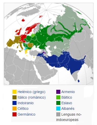 Mapa de distribución de las principales lenguas de los pueblos indoeuropeos en Grecia