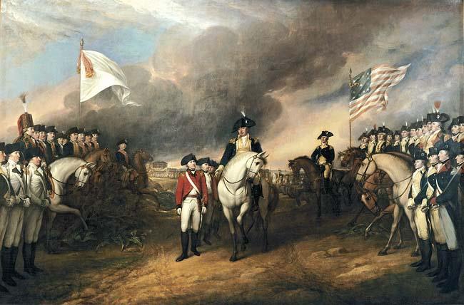 Tropas francesas (izquierda) observan a los británicos rendirse ante los estadounidenses (derecha), en la Batalla de Yorktown en 1781. Es el más remoto origen de la revolución francesa