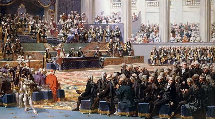 Sesión de apertura de los Estados Generales, de Auguste Couder, que ejemplifica el origen de la revolución francesa