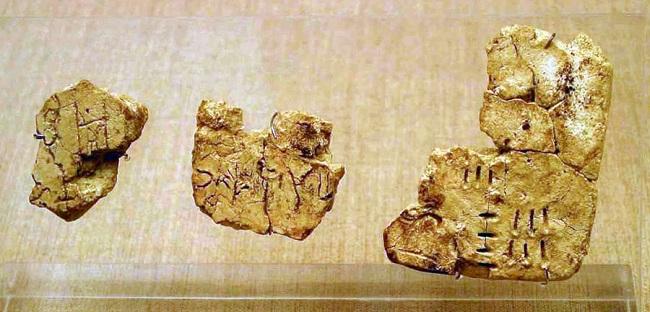 Tablillas de escritura lineal A de la civilización minoica