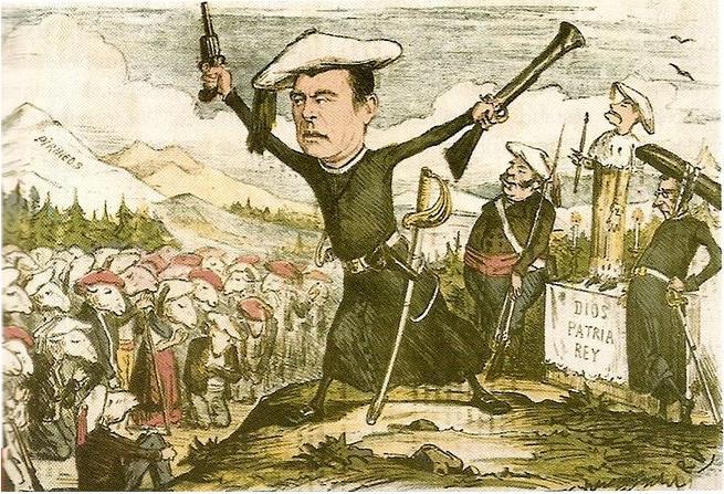 Caricatura de los carlistas aparecida en una revista de 1870