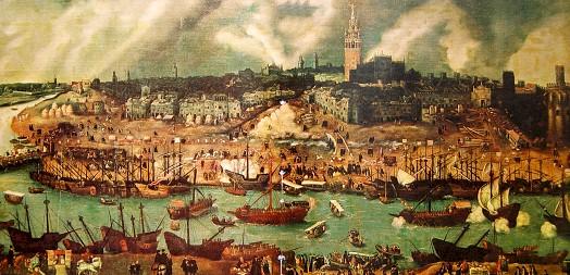 Cuadro que muestra el aspecto que tendría la ciudad de Sevilla en el siglo XVI