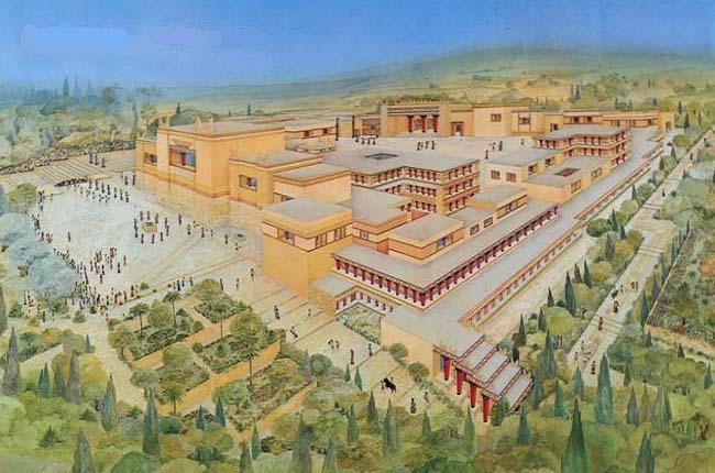 Posible reconstrucción del palacio de Cnosos, epicentro de la civilización minoica