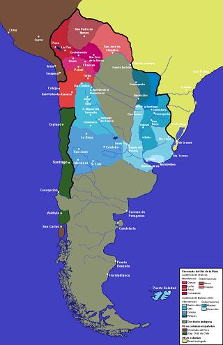 Mapa del virreinato de la Plata con sus intendencias, años antes de que llegara la Argentina independiente