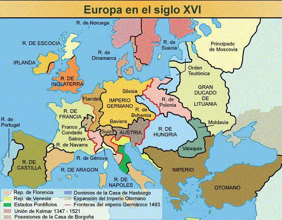 Mapa de Europa en el siglo XVI