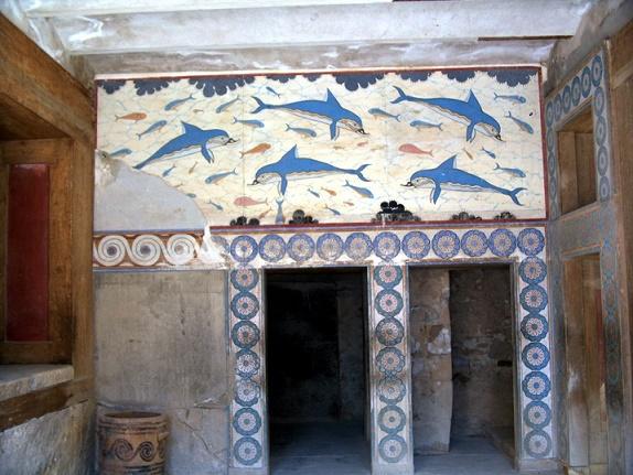 El fresco de los delfines, del palacio de Cnosos, epicentro de la cultura minoica