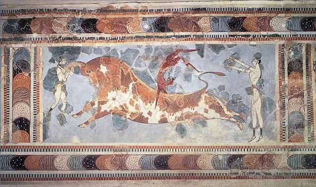 El salto del toro, pintura del palacio minoico de Cnosos, epicentro de la cultura minoica