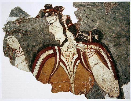 Estado actual de un fresco micénico en el que se representa una diosa, anterior a la edad oscura griega