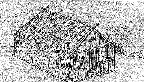 Reconstrucción ideal de una casa prototípica de la Edad Oscura griega, durante la sociedad homérica