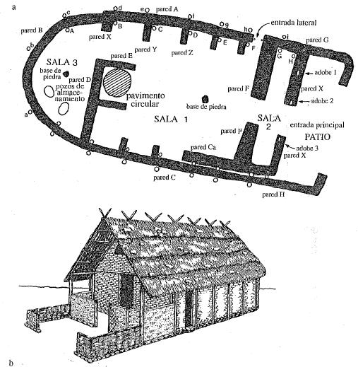 Planta y reconstrucción de la casa del jefe de la aldea de Nichoria en el s. IX a.C., propia de la sociedad homérica