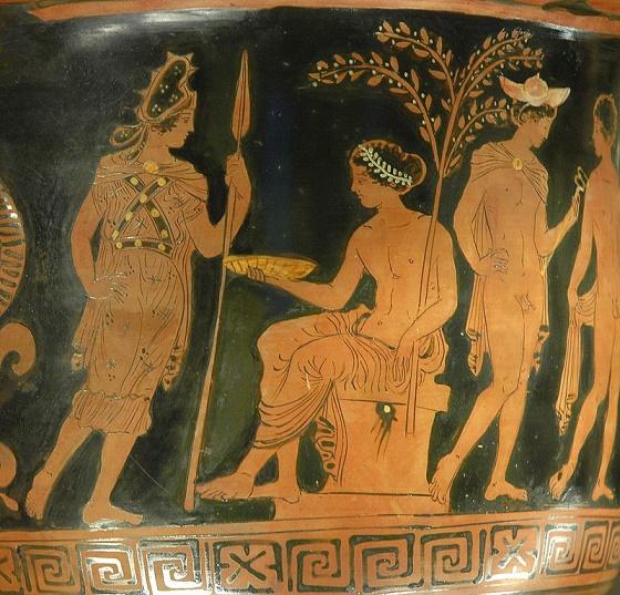 Cerámica de figuras rojas, un logro de la sociedad griega, en la que se ve a la diosa Bendis acercándose al dios Apolo, que está sentado