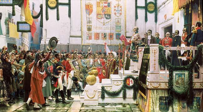 La promulgación de la constitución de 1812, hecho clave de la historia contemporánea de España, obra de Salvador Viniegra