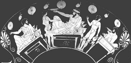 Imagen que representaría a los miembros de un syssition, parte del gobierno de Esparta