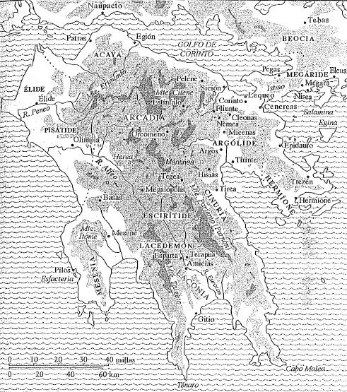Mapa de la Península del Peloponeso y sus principales regiones y ciudades