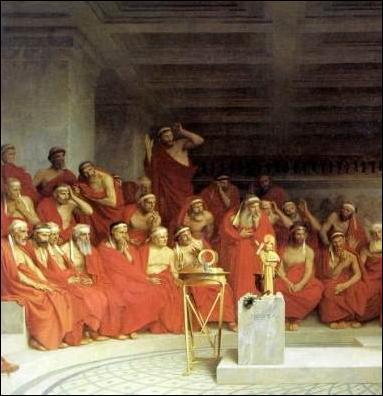 Ilustración que representaría como sería la gerousía espartana dentro del gobierno de Esparta