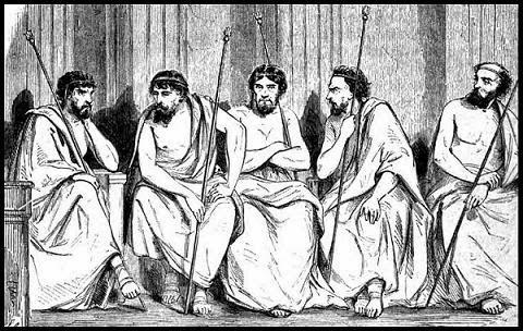 Ilustración que representaría como serían los éforos espartanos, parte del gobierno de Esparta