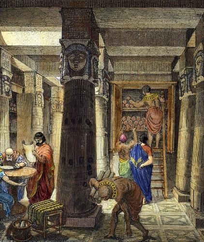 Grabado decimonónico que reconstruye el posible aspecto interior de la Gran Biblioteca