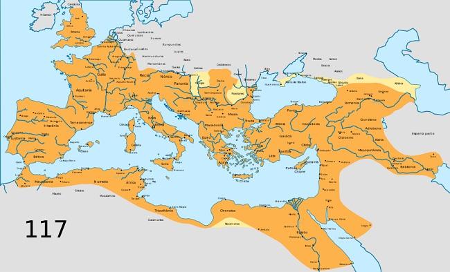 Mapa del Imperio Romano en su momento de mayor expansión