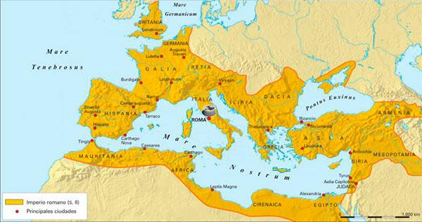 Mapa del Imperio Romano y sus principales ciudades en el siglo II