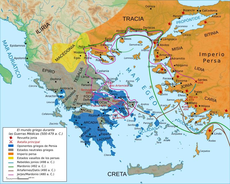 Mapa del mundo griego durante las Guerras Médicas que vivió la batalla de las termopilas