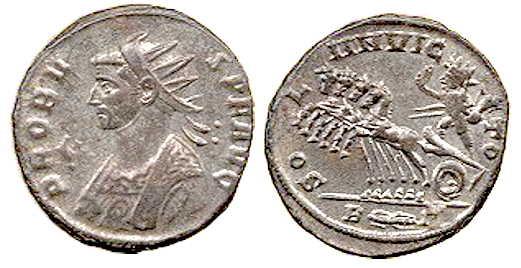 Moneda del emperador Marco Aurelio Probo con el Sol Invictus montando una cuadriga