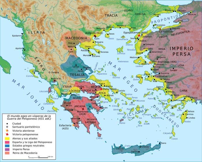Mapa del mundo griego en vísperas de la Guerra del Peloponeso, en el auge de Pericles y la democracia ateniense