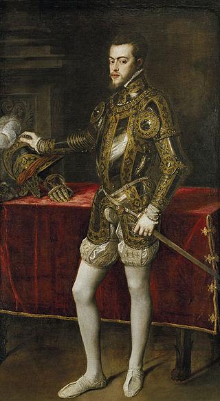 Retrato de Felipe II, creador de la biblioteca del Escorial, hecho por Tiziano