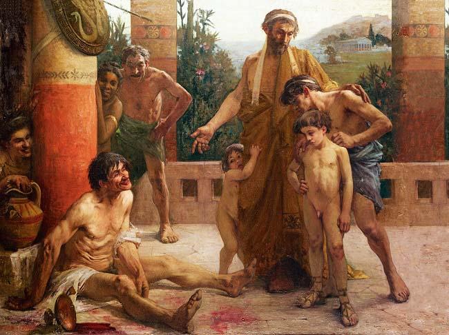 Cuadro de F. Sabbate (1900) de una familia espartana burlándose de su esclavo