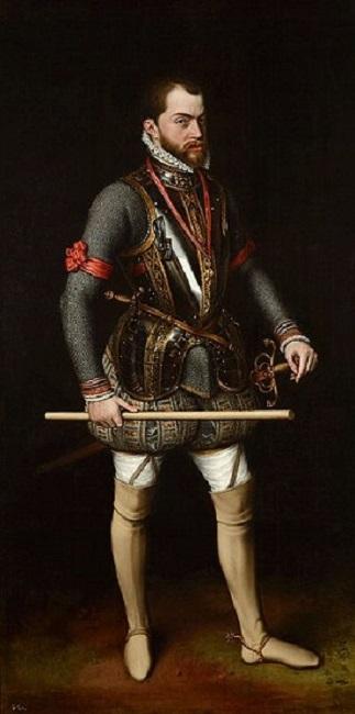 Retrato de Felipe II hecho por Antonio Moro, una de las obras de Felipe II más famosas