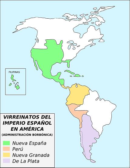 Mapa de los virreinatos españoles en América a partir de 1776, décadas antes de la revolución de mayo en Argentina