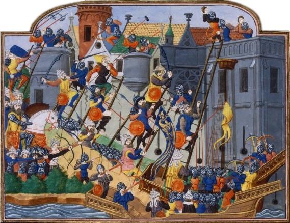 Una representación contemporánea del siglo XV del asedio a Constantinopla