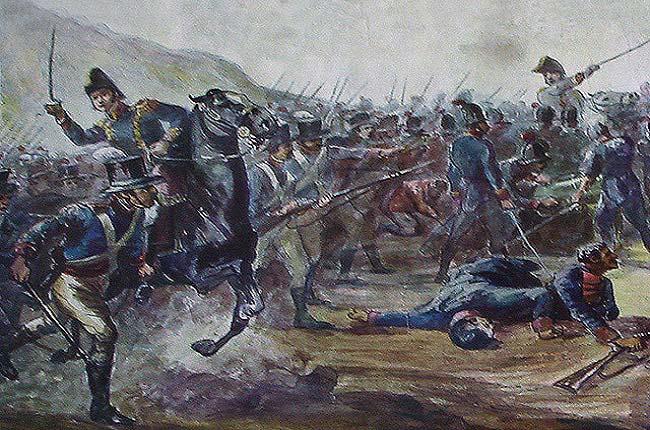 Ilustración que recrea la batalla de Huaqui, que desembocó en la Argentina independiente