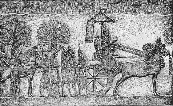 Relieve del rey Senaquerib hallado en su palacio, cerca de la biblioteca de Nínive