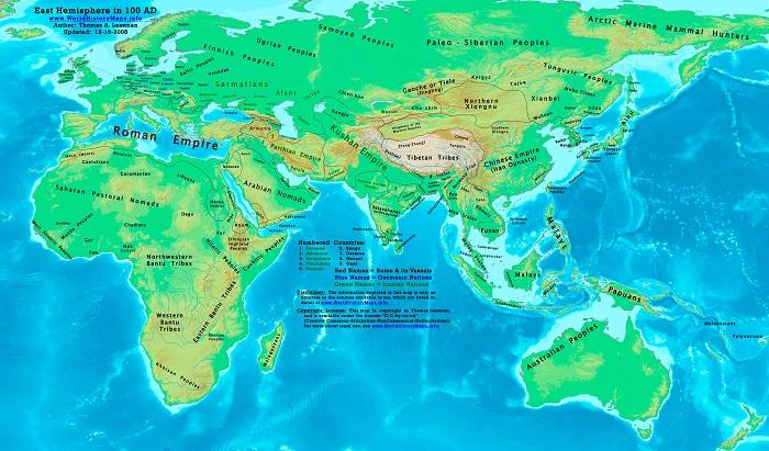 Mapa global de Europa, África, Asia y Oceanía en el año 100 (World History Maps)
