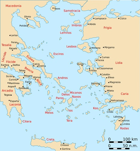 Mapa de las ciudades y regiones del mundo griego en la Guerra decélica